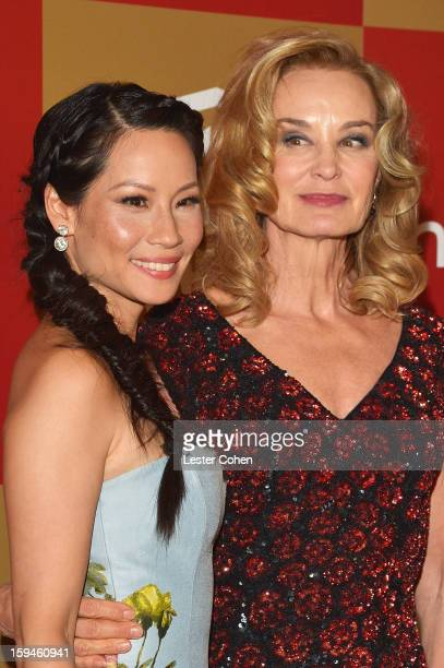 Actresses Lucy Liu and Jessica Lange attend the 2013 InStyle and Warner Bros 70th Annual Golden Globe Awards PostParty held at the Oasis Courtyard in...