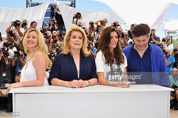 Actresses Ludivine Sagnier Catherine Deneuve Chiara Mastroianni and director Christophe Honore attend the 'Les BienAimes' Photocall at Palais des...