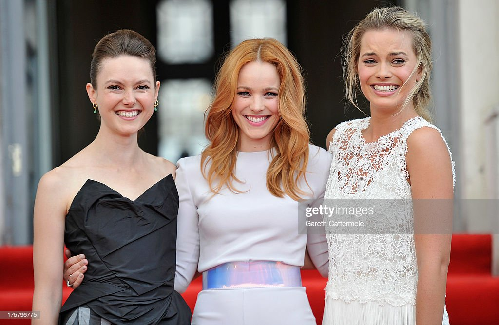 Actresses Lydia Wilson, <a gi-track='captionPersonalityLinkClicked' href=/galleries/search?phrase=Rachel+McAdams&family=editorial&specificpeople=212942 ng-click='$event.stopPropagation()'>Rachel McAdams</a> and <a gi-track='captionPersonalityLinkClicked' href=/galleries/search?phrase=Margot+Robbie&family=editorial&specificpeople=5781742 ng-click='$event.stopPropagation()'>Margot Robbie</a> attend the 'About Time' world premiere at Somerset House on August 8, 2013 in London, England.