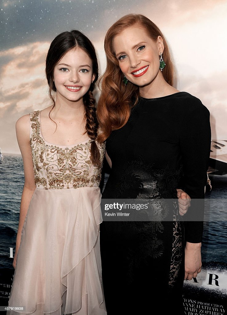 Actresses Mackenzie Foy (L) and Jessica Chastain attend the premiere of Paramount Pictures' 'Interstellar' at TCL Chinese Theatre IMAX on October 26, 2014 in Hollywood, California.