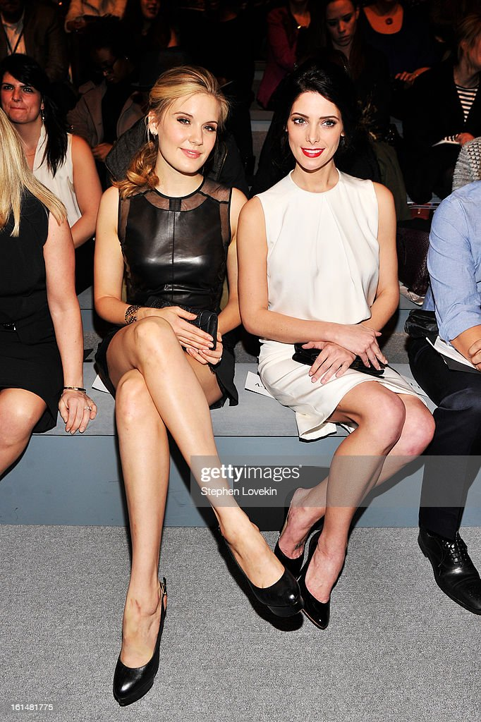 Actresses Maggie Grace (L) and Ashley Greene attend the Kaufmanfranco Fall 2013 fashion show during Mercedes-Benz Fashion Week at The Stage at Lincoln Center on February 11, 2013 in New York City.