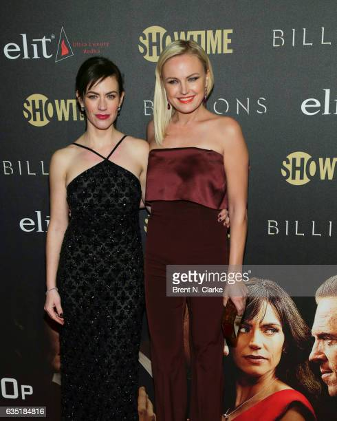 Actresses Maggie Siff and Malin Akerman attend Showtime's 'Billions' Season 2 premiere held at Cipriani 25 Broadway on February 13 2017 in New York...