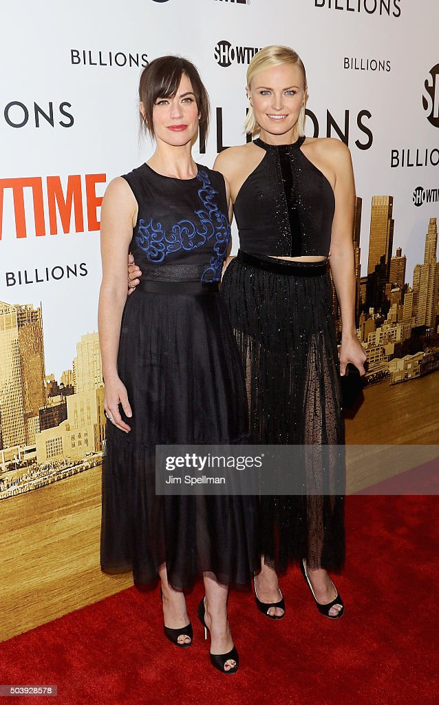 Actresses Maggie Siff and Malin Akerman attend the 'Billions' series premiere at Museum of Modern Art on January 7, 2016 in New York City.