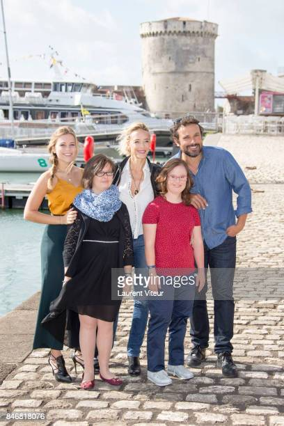 Actresses Maira Schmitt Clemence Joneau Helene de Fougerolles Marie Dal Zotto and Actor Bruno Salomone attend 'Mention Particuliere' Photocall during...