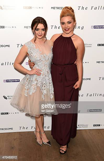Actresses Maisie Williams and Florence Pugh attend the London gala screening of 'The Falling' at Ham Yard Hotel on April 20 2015 in London England