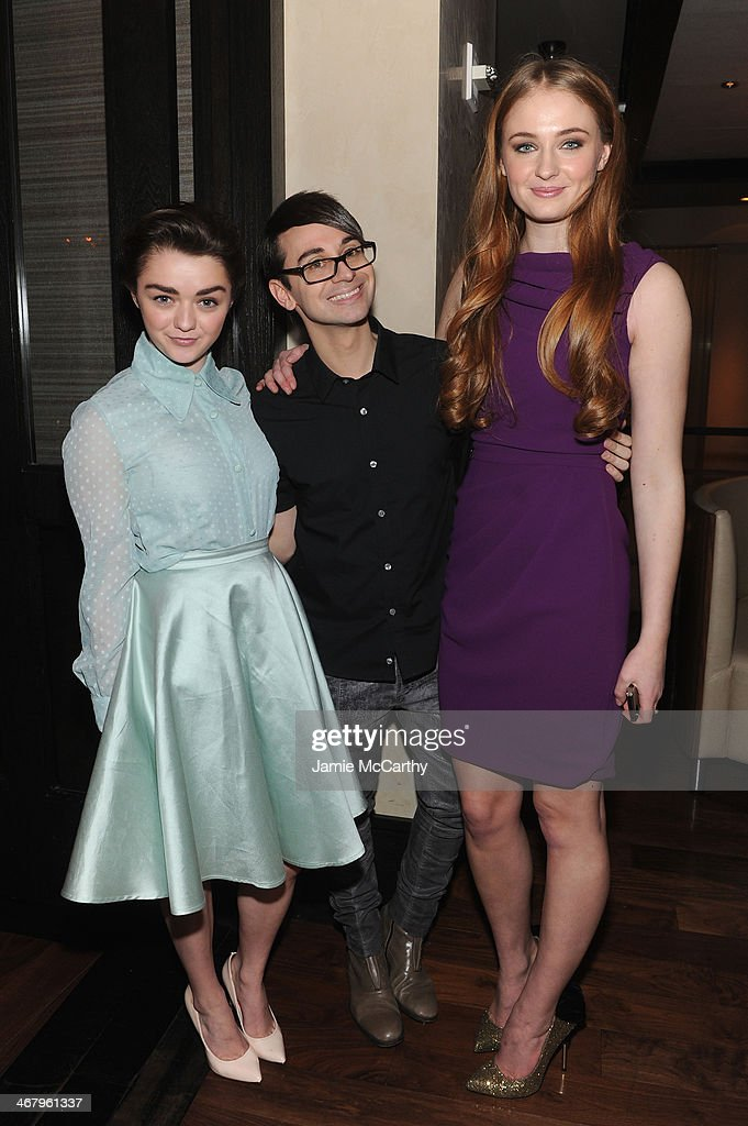 Actresses Maisie Williams designer Christian Siriano and Sophie Turner attend Christian Siriano private dinner and after party during MercedesBenz...