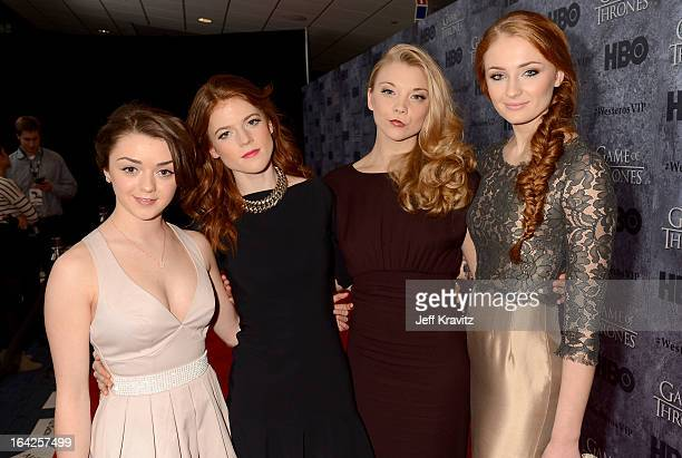 Actresses Maisie Williams Rose Leslie Natalie Dormer and Sophie Turner attend HBO's 'Game Of Thrones' Season 3 Seattle Premiere on March 21 2013 in...