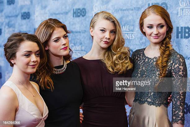 Actresses Maisie Williams Rose Leslie Natalie Dormer and Sophie Turner attend HBO's 'Game Of Thrones' season 3 premiere at Cinerama Theater on March...