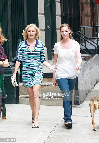 Actresses Malin Akerman and Katherine Heigl sighting as they film a scene for their new movie '27 Dresses' on location in Tribeca New York