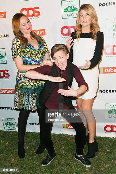 Actresses Mamrie Hart Hannah Hart and Grace Helbig attend 'Camp Takota' Exclusive Sneak Peek Party at UCLA on February 11 2014 in Los Angeles...