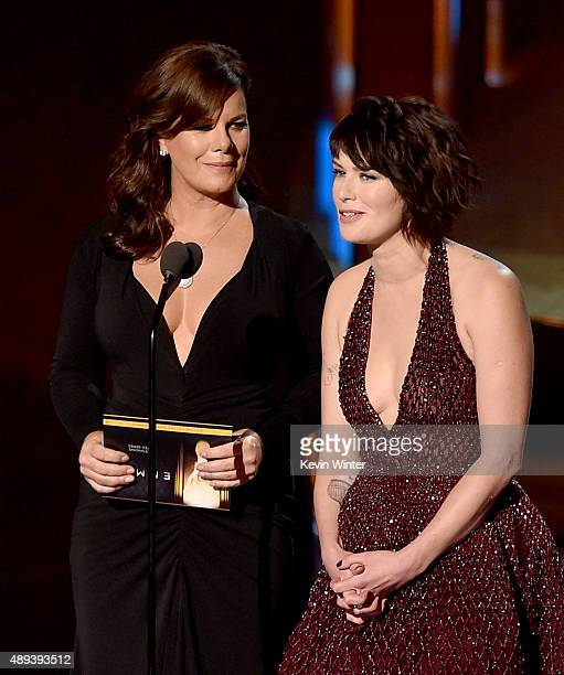 Actresses Marcia Gay Harden and Lena Headey speak onstage during the 67th Annual Primetime Emmy Awards at Microsoft Theater on September 20 2015 in...