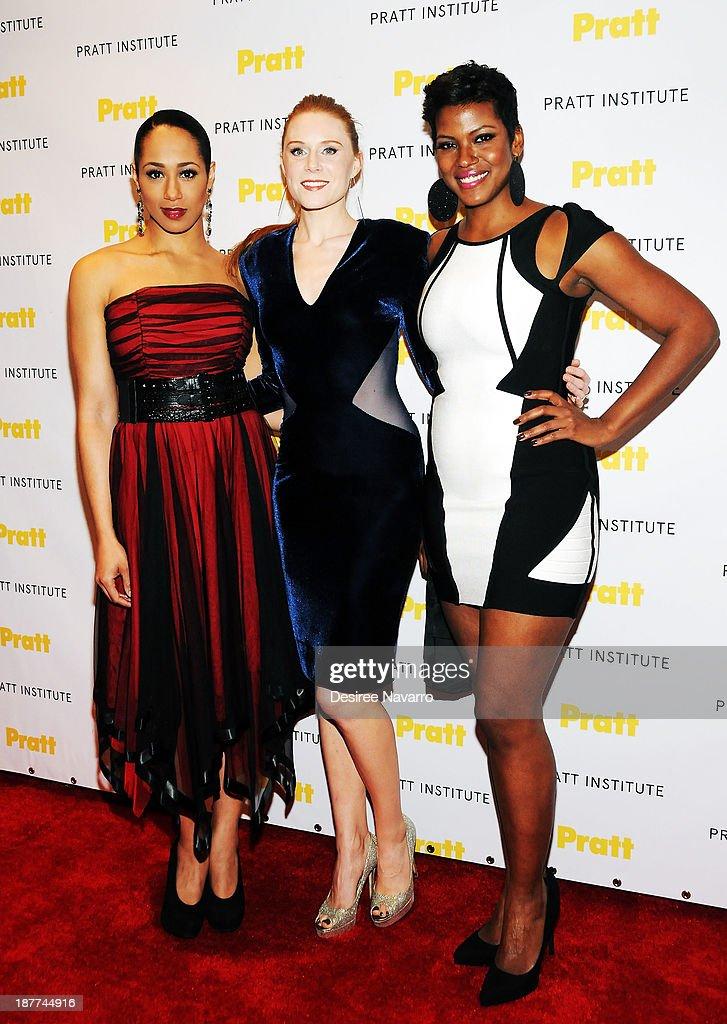 Actresses Margot Bingham, Christiane Seidel and Cassandra Freeman attend the 2013 Pratt Institute gala at Mandarin Oriental Hotel on November 11, 2013 in New York City.