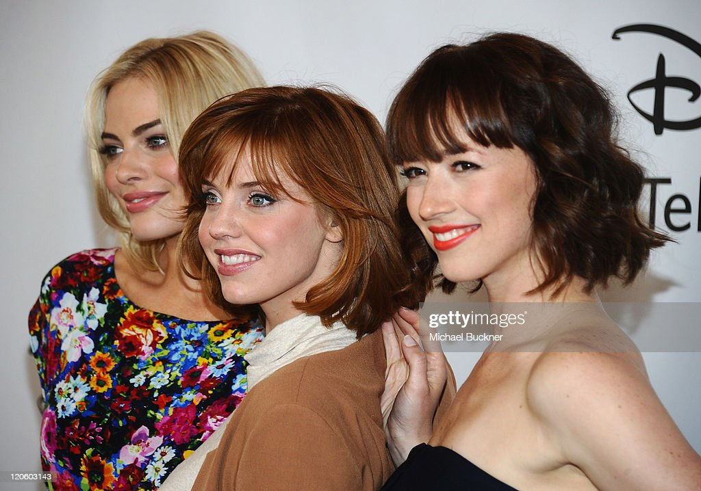 Actresses Margot Elise Robbie, Kelli Garner and <a gi-track='captionPersonalityLinkClicked' href=/galleries/search?phrase=Karine+Vanasse&family=editorial&specificpeople=4360369 ng-click='$event.stopPropagation()'>Karine Vanasse</a> arrive at the Disney ABC Television Group's 'TCA 2001 Summer Press Tour' at the Beverly Hilton Hotel on August 7, 2011 in Beverly Hills, California.