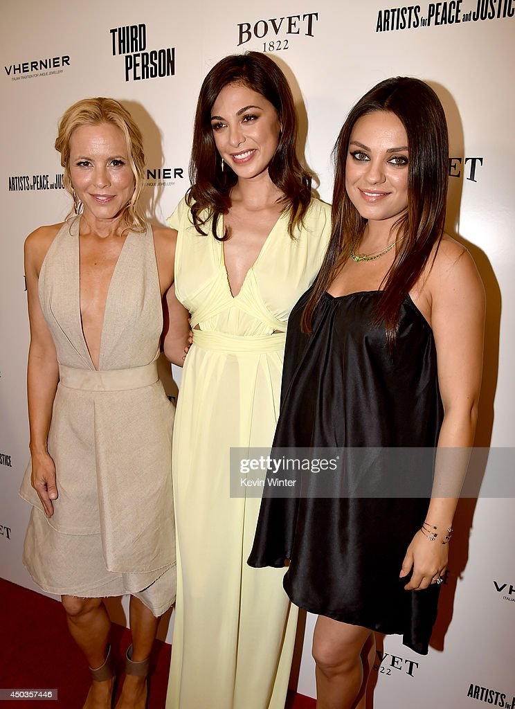 Actresses Maria Bell, <a gi-track='captionPersonalityLinkClicked' href=/galleries/search?phrase=Moran+Atias&family=editorial&specificpeople=3964520 ng-click='$event.stopPropagation()'>Moran Atias</a>, and <a gi-track='captionPersonalityLinkClicked' href=/galleries/search?phrase=Mila+Kunis&family=editorial&specificpeople=212845 ng-click='$event.stopPropagation()'>Mila Kunis</a> attend the premiere of Sony Picture Classics' 'Third Person' at Linwood Dunn Theater at the Pickford Center for Motion Study on June 9, 2014 in Hollywood, California.