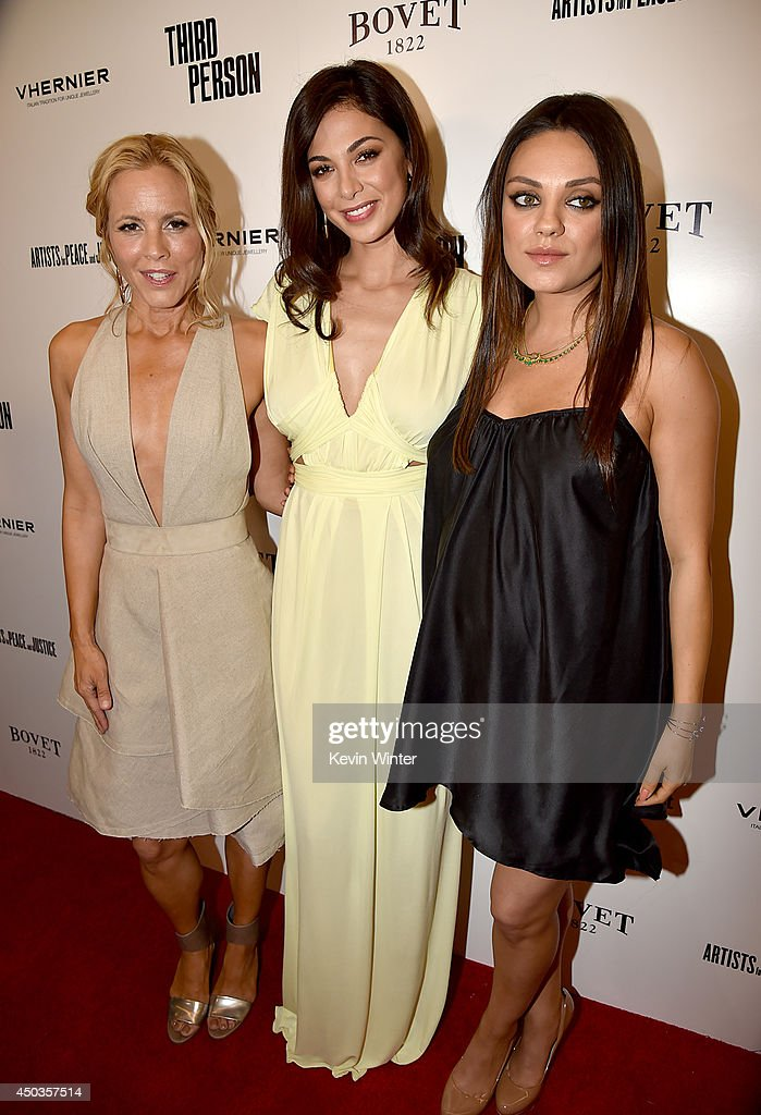 Actresses <a gi-track='captionPersonalityLinkClicked' href=/galleries/search?phrase=Maria+Bello&family=editorial&specificpeople=201770 ng-click='$event.stopPropagation()'>Maria Bello</a>, <a gi-track='captionPersonalityLinkClicked' href=/galleries/search?phrase=Moran+Atias&family=editorial&specificpeople=3964520 ng-click='$event.stopPropagation()'>Moran Atias</a>, and <a gi-track='captionPersonalityLinkClicked' href=/galleries/search?phrase=Mila+Kunis&family=editorial&specificpeople=212845 ng-click='$event.stopPropagation()'>Mila Kunis</a> attend the premiere of Sony Picture Classics' 'Third Person' at Linwood Dunn Theater at the Pickford Center for Motion Study on June 9, 2014 in Hollywood, California.