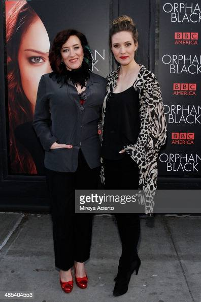 Actresses Maria Doyle Kennedy and Evelyne Brochu attend the 'Orphan Black' premiere at Sunshine Cinema on April 17 2014 in New York City