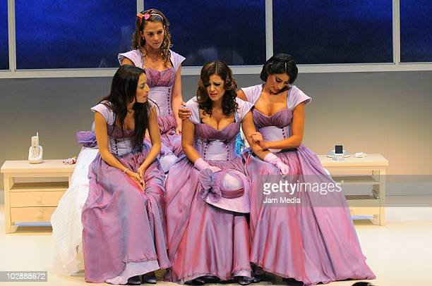 Actresses Marimar Vega Cecilia Ponce Griselda Contreras and Paola Nunez in action during the premiere of the play Cinco mujeres usando el mismo...