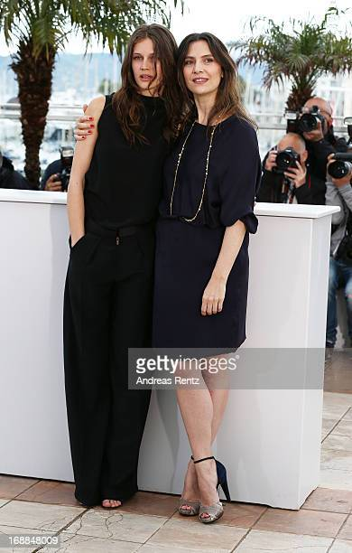 Actresses Marine Vacth and Geraldine Pailhas attend the 'Jeune Jolie' Photocall during the 66th Annual Cannes Film Festival at the Palais des...