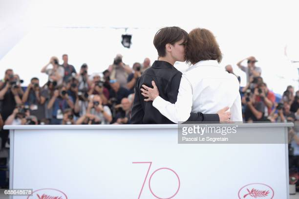 Actresses Marine Vacth and Jacqueline Bisset attend the 'Amant Double ' Photocall during the 70th annual Cannes Film Festival at Palais des Festivals...