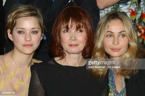 actresses Marion Cotillard Sabine Azemar Emmanuuelle Beart during a photocall to launch the 2004 Renault French Film Season at the French...