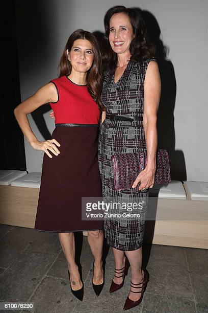 Actresses Marisa Tomei and Andie MacDowell wearing Bottega Veneta attend the Bottega Veneta show during Milan Fashion Week Spring/Summer 2017 on...