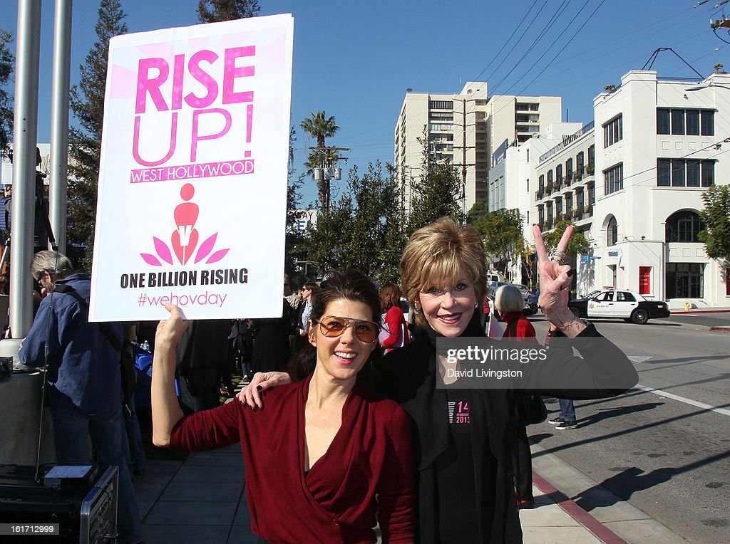 Actresses Marisa Tomei (L) and Jane Fonda attend the kick-off for One Billion Rising in West Hollywood on February 14, 2013 in West Hollywood, California.