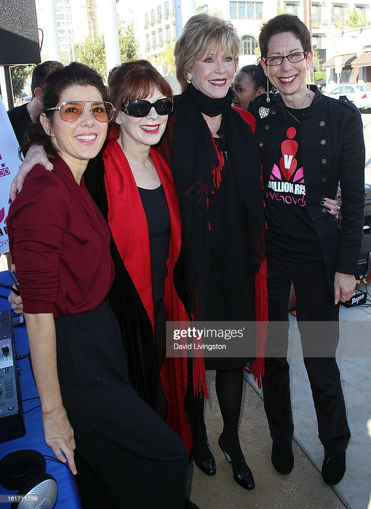 Actresses Marisa Tomei, Frances Fisher and Jane Fonda and City of West Hollywood Mayor Pro Tempore Abbe Land attend the kick-off for One Billion Rising in West Hollywood on February 14, 2013 in West Hollywood, California.