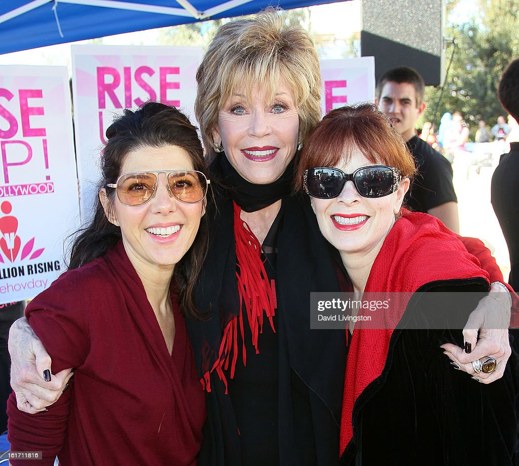 Actresses Marisa Tomei, Jane Fonda and Frances Fisher attend the kick-off for One Billion Rising in West Hollywood on February 14, 2013 in West Hollywood, California.