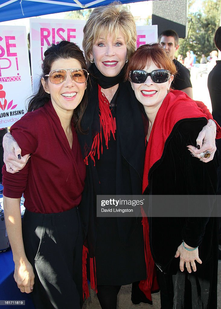Actresses <a gi-track='captionPersonalityLinkClicked' href=/galleries/search?phrase=Marisa+Tomei&family=editorial&specificpeople=201516 ng-click='$event.stopPropagation()'>Marisa Tomei</a>, <a gi-track='captionPersonalityLinkClicked' href=/galleries/search?phrase=Jane+Fonda&family=editorial&specificpeople=202174 ng-click='$event.stopPropagation()'>Jane Fonda</a> and <a gi-track='captionPersonalityLinkClicked' href=/galleries/search?phrase=Frances+Fisher&family=editorial&specificpeople=211520 ng-click='$event.stopPropagation()'>Frances Fisher</a> attend the kick-off for One Billion Rising in West Hollywood on February 14, 2013 in West Hollywood, California.