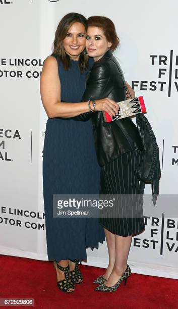 Actresses Mariska Hargitay and Debra Messing attend the 'I Am Evidence' screening during the 2017 Tribeca Film Festival at SVA Theatre on April 24...