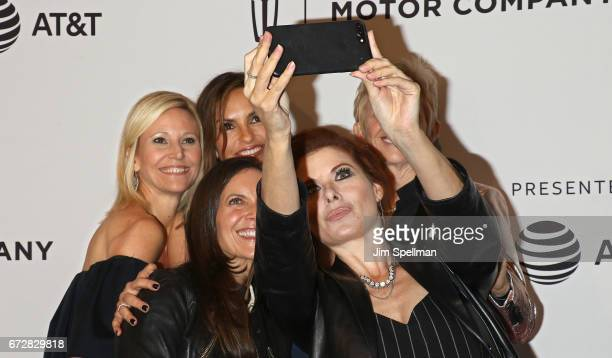 Actresses Mariska Hargitay Debra Messing and guests attend the 'I Am Evidence' screening during the 2017 Tribeca Film Festival at SVA Theatre on...