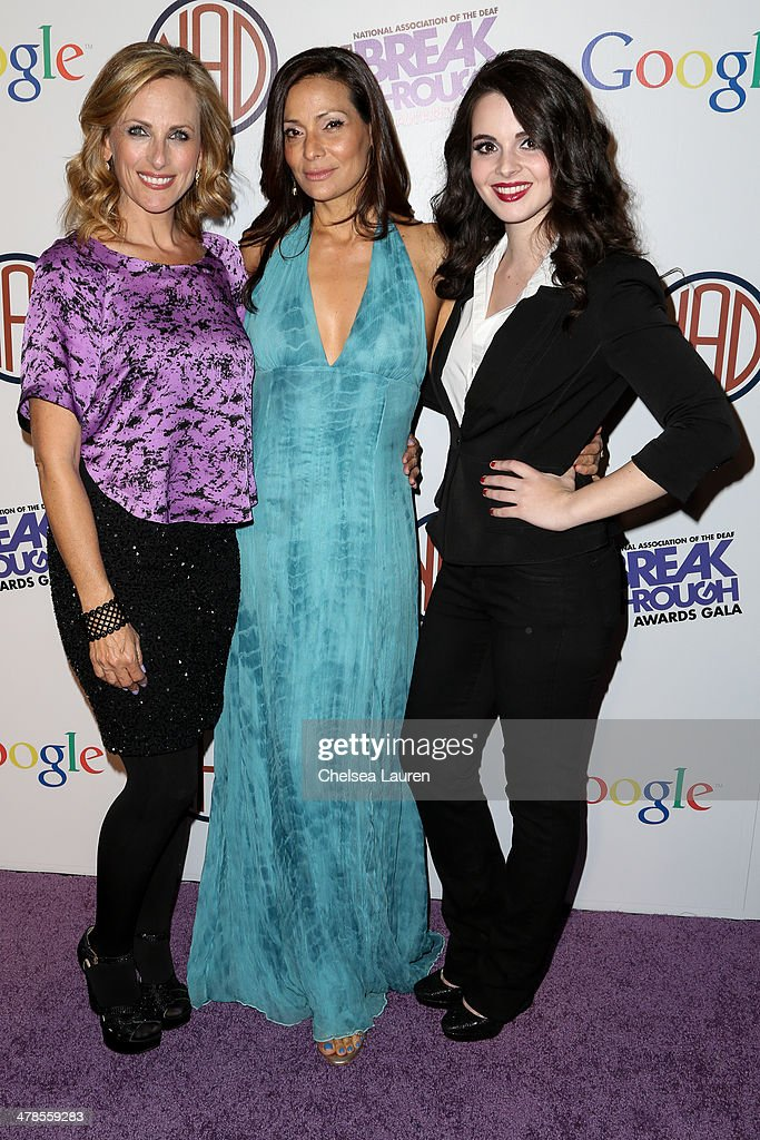 Actresses <a gi-track='captionPersonalityLinkClicked' href=/galleries/search?phrase=Marlee+Matlin&family=editorial&specificpeople=173454 ng-click='$event.stopPropagation()'>Marlee Matlin</a>, <a gi-track='captionPersonalityLinkClicked' href=/galleries/search?phrase=Constance+Marie&family=editorial&specificpeople=204646 ng-click='$event.stopPropagation()'>Constance Marie</a> and <a gi-track='captionPersonalityLinkClicked' href=/galleries/search?phrase=Vanessa+Marano&family=editorial&specificpeople=851394 ng-click='$event.stopPropagation()'>Vanessa Marano</a> arrive at the National Association Of The Deaf's 1st annual Breakthrough Awards at Hollywood Roosevelt Hotel on March 13, 2014 in Hollywood, California.