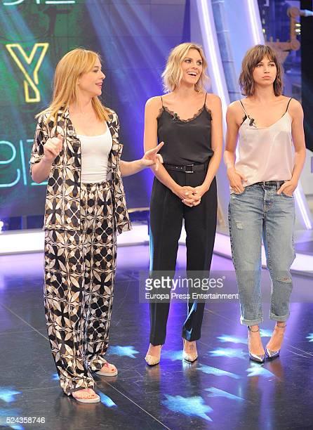 Actresses Marta Hazas Ursula Corbero and Amaia Salamanca attend 'El Hormiguero' TV show on April 25 2016 in Madrid Spain