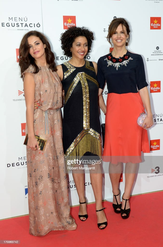 Actresses Marta Torne, Vicenta N'Dongo and Claudia Bassols attends the premiere of 'Menu Degustacion' at Comedia Cinema on June 10, 2013 in Barcelona, Spain.