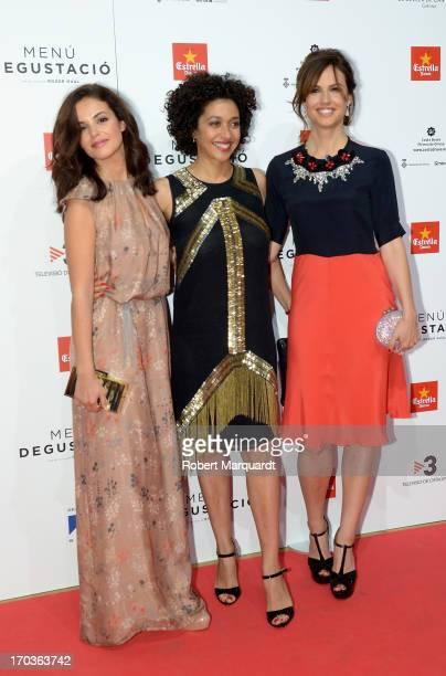 Actresses Marta Torne Vicenta N'Dongo and Claudia Bassols attends the premiere of 'Menu Degustacion' at Comedia Cinema on June 10 2013 in Barcelona...