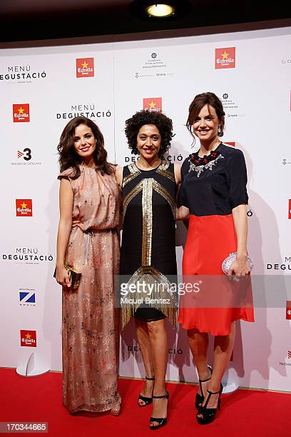 Actresses Marta Torne Vicenta N'Dongo and Claudia Bassols pose on the red carpet for the premiere of their latest film 'Menu Degustacion' at Comedia...