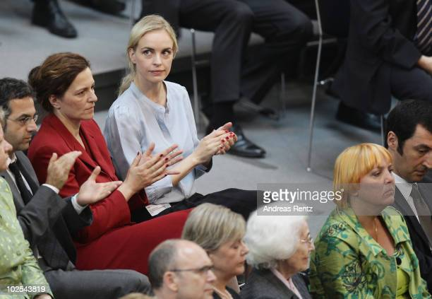 Actresses Martina Gedeck and Nina Hoss attend the election of a new German president by the Federal Assembly on June 30 2010 in Berlin Germany The...