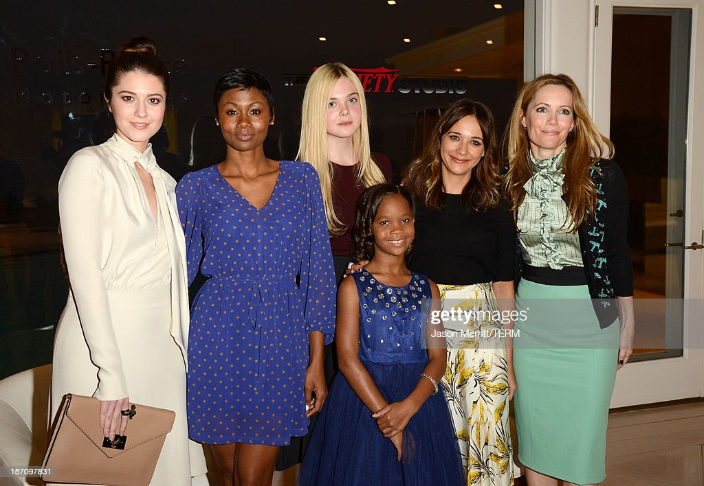 Actresses Mary Elizabeth Winstead, Emayatzy Corinealdi, Elle Fanning, Quvenzhane Wallis, Rashida Jones and Leslie Mann attend The Variety Studio: Awards Edition held at a private residence on November 28, 2012 in Los Angeles, California.
