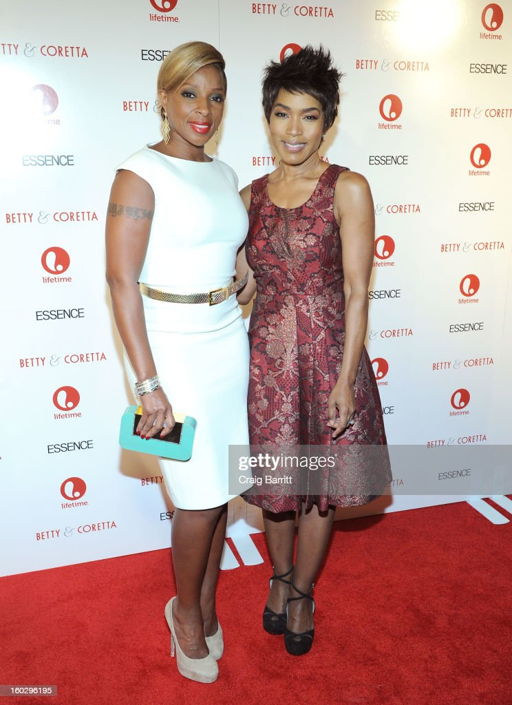 Actresses Mary J. Blige and <a gi-track='captionPersonalityLinkClicked' href=/galleries/search?phrase=Angela+Bassett&family=editorial&specificpeople=171174 ng-click='$event.stopPropagation()'>Angela Bassett</a> attend the premiere of 'Betty & Coretta' to celebrate with Lifetime and cast at Tribeca Cinemas on January 28, 2013 in New York City.