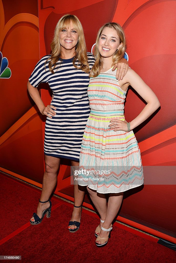 Actresses Mary McCormack (L) and Ella Rae Peck arrive at the 2013 Television Critics Association's Summer Press Tour - NBC Party at The Beverly Hilton Hotel on July 27, 2013 in Beverly Hills, California.