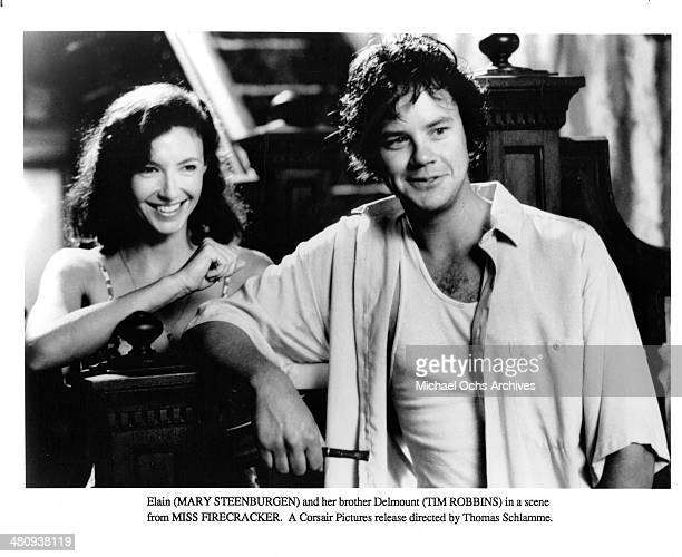 Actresses Mary Steenburgen and actor Tim Robbins in a scene from the movie 'Miss Firecracker ' circa 1989