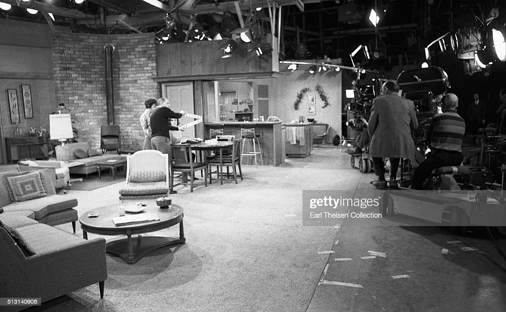 Actresses Mary Tyler Moore and Ann Morgan Guilbert in rehearsal for The Dick Van Dyke Show on December 2, 1963 in Los Angeles, California.