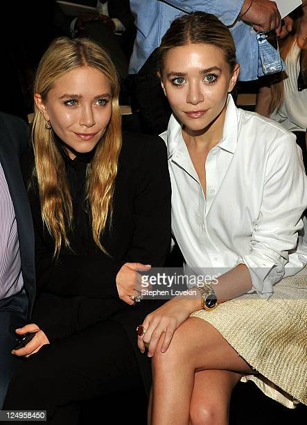 Actresses MaryKate and Ashley Olsen attend the JMendel Spring 2012 Fashion Show at Lincoln Center on September 14 2011 in New York City
