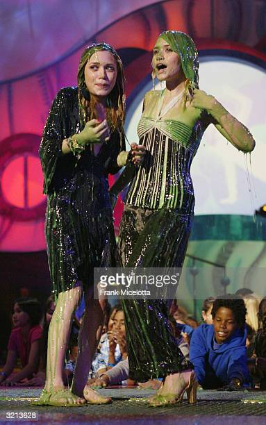 Actresses MaryKate and Ashley Olsen get slimed at Nickelodeon's 17th Annual Kids' Choice Awards at Pauley Pavilion on the campus of UCLA April 3 2004...