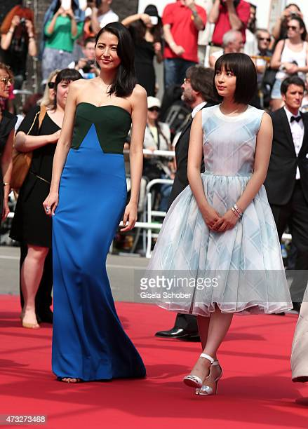 Actresses Masami Nagasawa and Suzu Hirose attend the Premiere of 'Umimachi Diary' during the 68th annual Cannes Film Festival on May 14 2015 in...