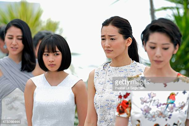 Actresses Masami Nagasawa Suzu Hirose Haruka Ayase and Kaho attend a photocall for 'Umimachi Diary' during the 68th annual Cannes Film Festival on...