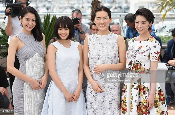 Actresses Masami Nagasawa Suzu Hirose Haruka Ayase and Kaho attend the 'Umimachi Diary' photocall during the 68th annual Cannes Film Festival on May...
