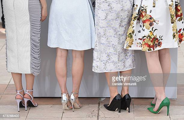 Actresses Masami Nagasawa Suzu Hirose Haruka Ayase and Kaho shoe details attend the 'Umimachi Diary' photocall during the 68th annual Cannes Film...