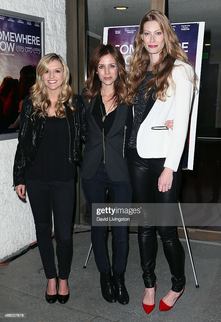 Actresses Maude Hirst, Jessalyn Gilsig and Alyssa Sutherland attend a screening of Logolite Entertainment & Screen Media Films' 'Somewhere Slow' at Arena Cinema Hollywood on January 31, 2014 in Hollywood, California.