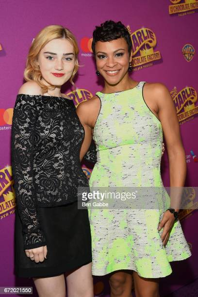 Actresses Meg Donnelly and Carly Hughes attend the 'Charlie And The Chocolate Factory' Broadway opening night at LuntFontanne Theatre on April 23...